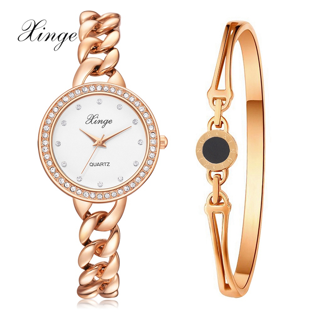 Xinge Brand Luxury Bracelet Watches For Women Fashion Jewelry Set Clock Quartz Watch Business Creative Sports Watch xinge top brand 2018 women fashion watches bracelet set wristwatches watches for women clock girl female classic quartz watch