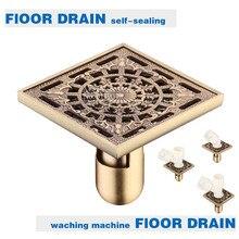 Brass Bathroom Kitchen Square Shower Drainer Washing Machine Floor Drain Trap Waste Grate With Hair Strainer