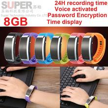 S3 8 GB reproductor de música time stamp + activada por voz + file encryption audio recorder, grabadora digital de voz inteligente pulsera reproductor de música