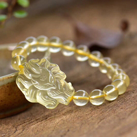 Wholesale Yellow Natural Crystal Bracelets Round Beads With Nine Tails Fox Bracelet Lucky for Women Evil Spirit Fashion Jewelry