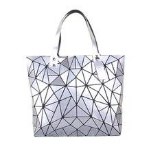 PU Women zip lock Handbags Matte Triangle Laser Bao Female Diamond Geometry Quilted Tote Mosaic Shoulder Bag