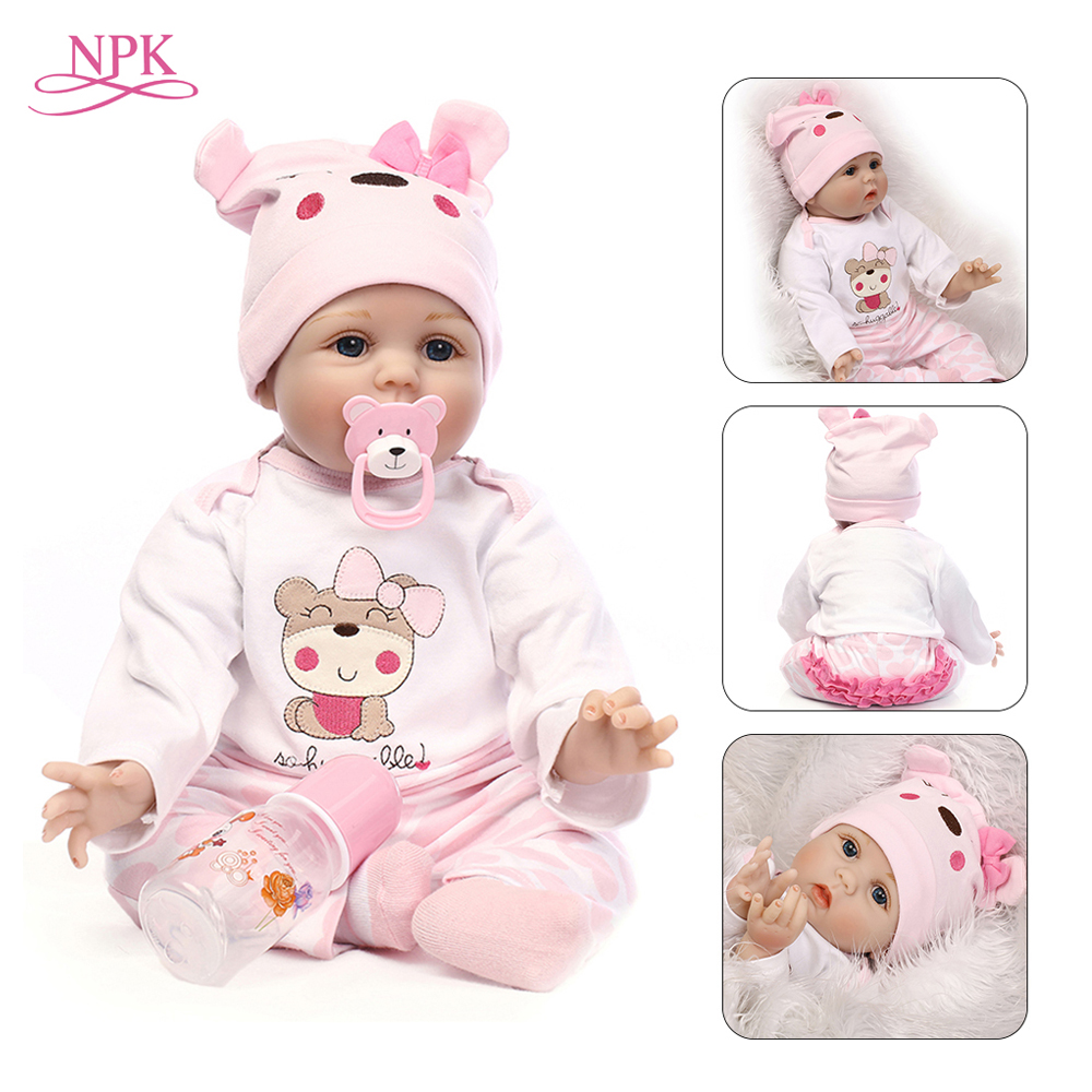 Muñeca NPK Reborn 55 CM silicona suave Reborn Baby Dolls juguetes de vinilo muñecas grandes para niñas 3 7 años muñecas de bebé viejo con tela de blusa-in Muñecas from Juguetes y pasatiempos    1