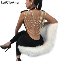 LaiCloAng Backless Pearl Chain Sexy Rompers Womens Jumpsuit Fashion Sleeveless Skinny Summer Jumpsuit Women Party Bodysuit Women