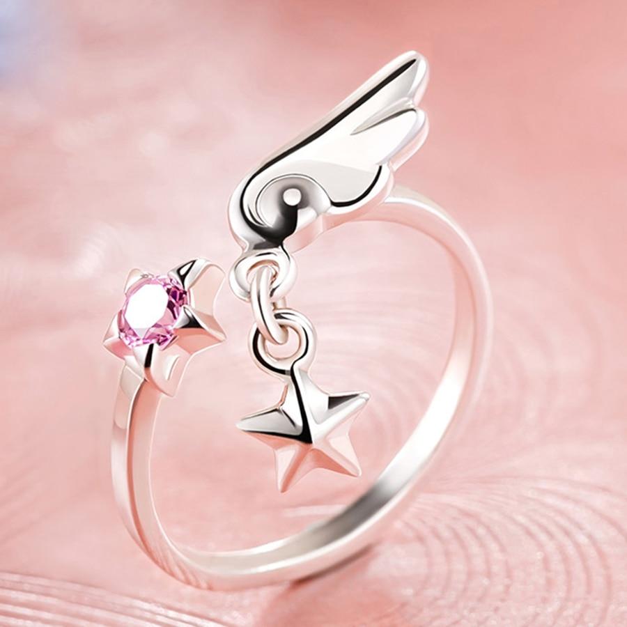 Anime jewlery Card Captor Sakura silver ring 925 cardcaptor sakura rings for women party cosplay gifts for girls souvenir lovers