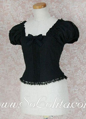 Lolita Lovely Black Square Bow Tie Corset Cotton Women's Blouse