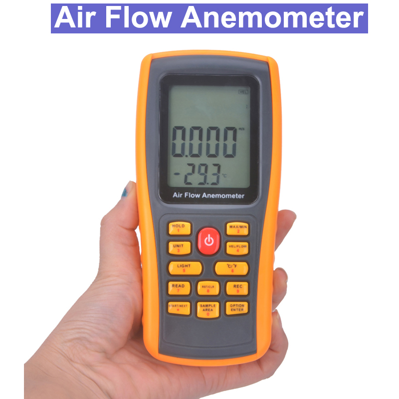 цена на 8902 Air Flow Anemometer Wind Speed Temperature Tester LCD Display Wind Speed Gauge air flow Anemometer Thermometer Wind Speed
