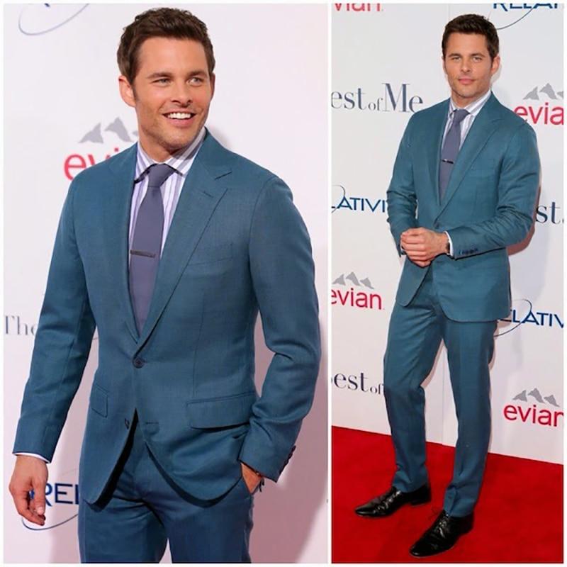 CUSTOM MADE 2 Piece Teal Blue Business Suits Men, Bespoke Tailored Blue Groom Tuxedo