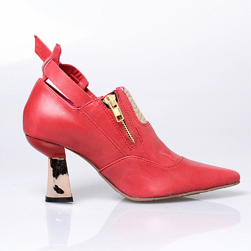 Patchwork Véritable Originale Printemps red De Chaussures Black Perfetto Bout Pointu Cuir brown Couleur Haut Spike En Simples Prova Conception Mélangée Talon wP4vqx