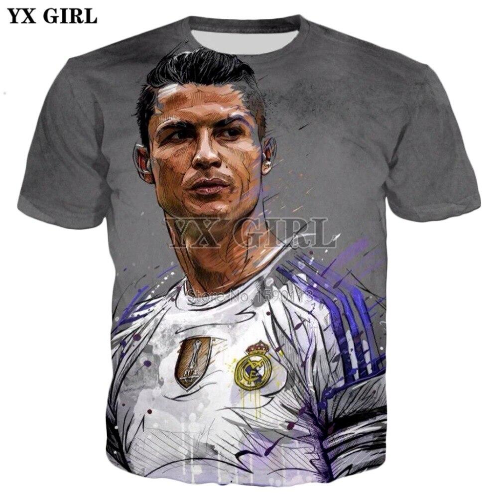 YX GIRL Drop shipping summer Cool Tee shirts Fashion 3D t-shirt Cristiano Ronaldo Character printed Male Female Casual T shirts