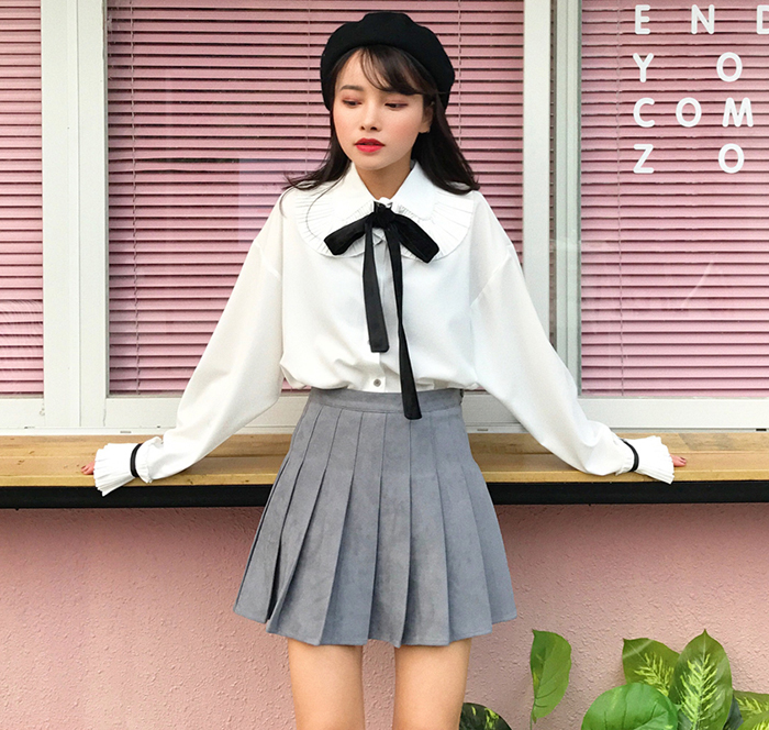 blusas mujer de moda 2019 Lolita   shirt   mori girls autumn spring Japan style long sleeve peter pan collar pink white   blouse     shirt