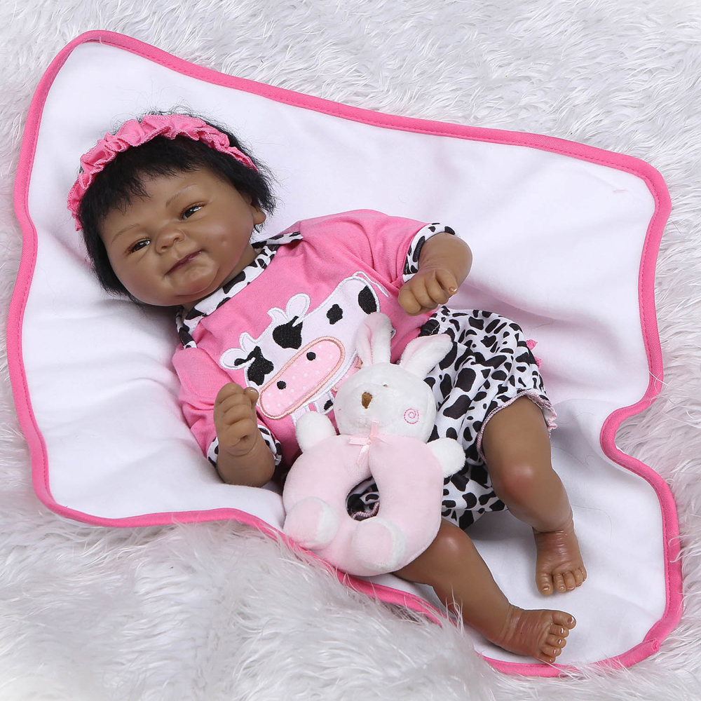 40cm Black skin Silicone Reborn Baby Doll kids Playmate Gift For Girls Baby Alive Soft Toys For Bouquets Doll Bebe Reborn