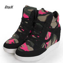 New autumn winter women casual shoes 2015 high top camouflage height increasing canvas shoes for women zapatos mujer ankle boots