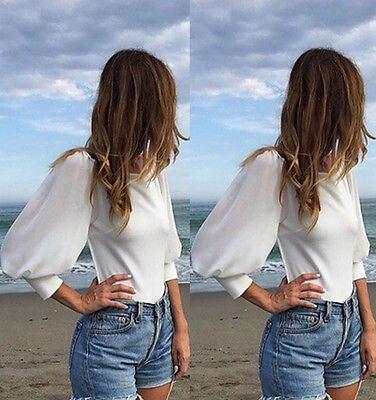 Casual Longues De Tops Sexy Femmes Blouses Noir Blanc Manches Mousseline Blouse À Dos En Soie Nu Ouvert xw7qwUY1P