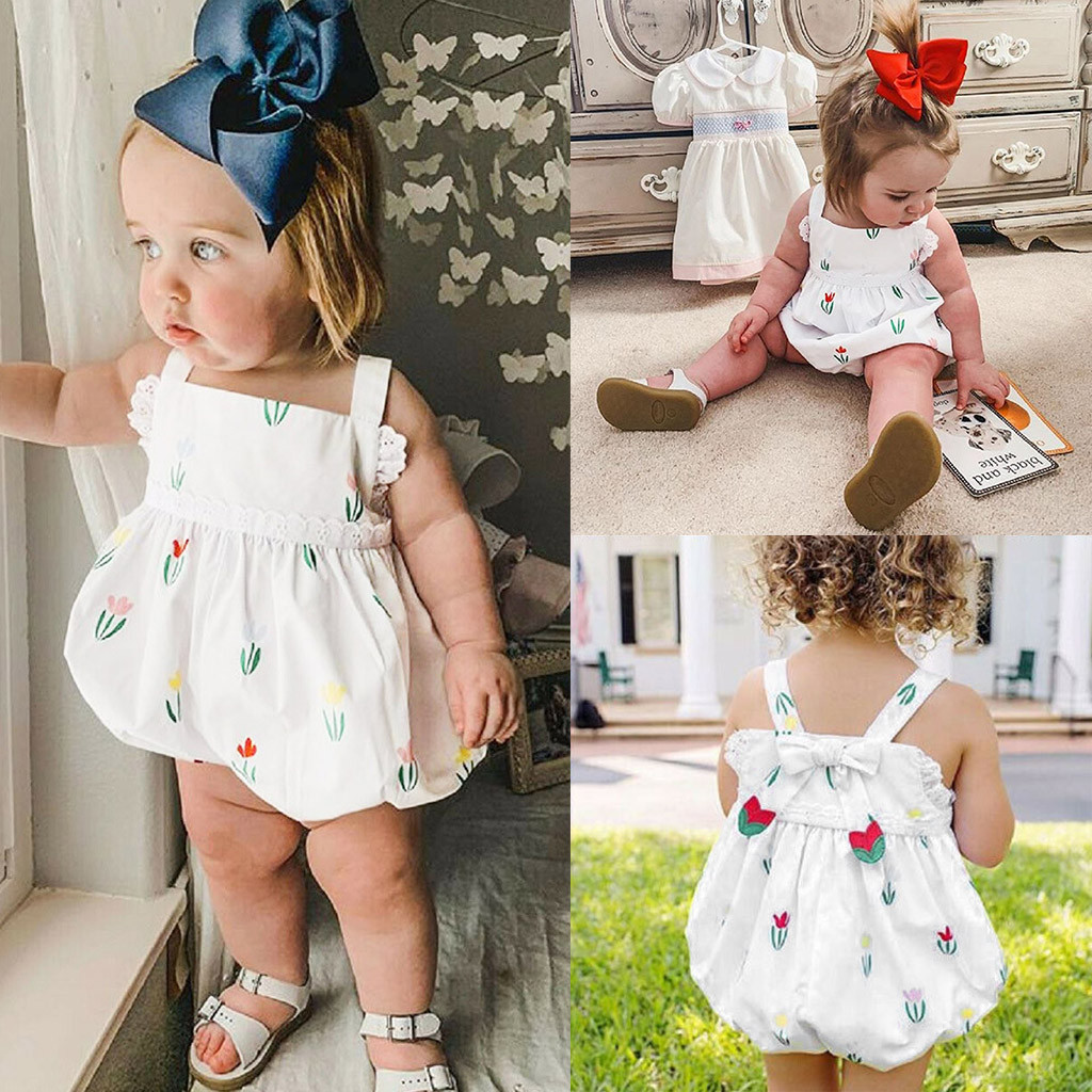 MUQGEW Baby Girl Clothes Infant Baby Girls Sleeveless Floral Print Bow Lace Bodysuit Romper Clothes Dropshipping Roupa Infantil