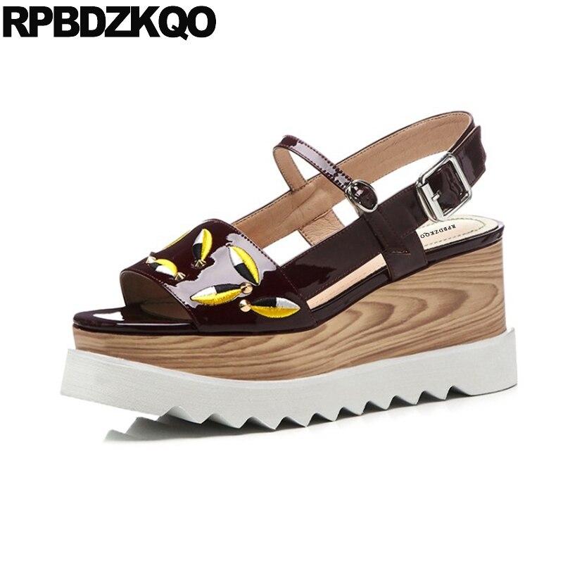 Rivet Stud Platform Wedge Sandals Summer Leaf Burgundy Genuine