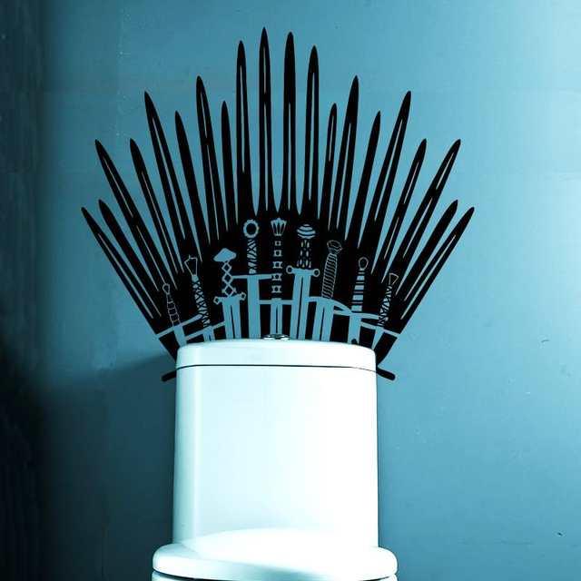 Online Shop Iron Throne Toilet Decal Wall Sticker Home Decor Parody