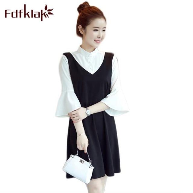 997d671f581 Fdfklak 2018 Fashion Dress Pregnant Maternity Gown Black White Stitching  Dress For Pregnant Women Summer