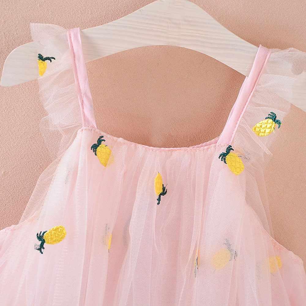 Повседневное платье принцессы на бретелях с вышивкой ананаса для новорожденных девочек праздничная одежда 3,26