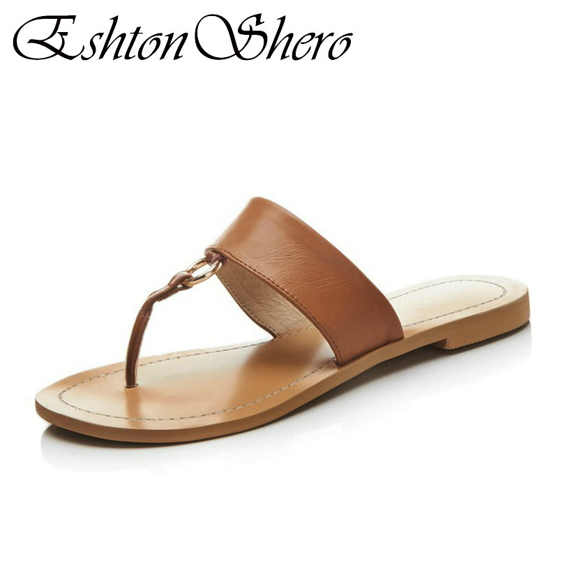 EshtonShero Summer Shoes Woman Sandals Cow Leather+PU Flat Heel Solid Flip flops Slip On Ladies Wedding Beach Shoes Size 34-43 стоимость