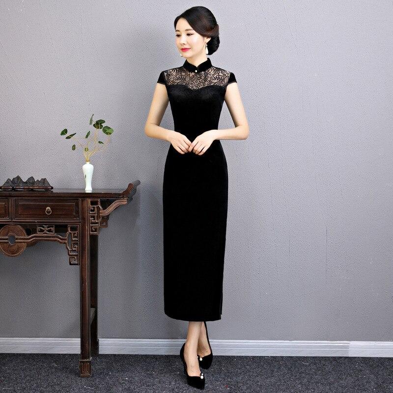 New Arrival Chinese Women Mandarin Collar Novelty Dress Sexy Long Cheongsam Qipao Elegant Velour Dresses Size