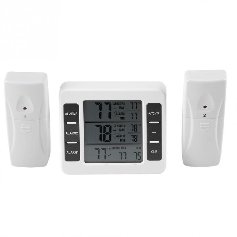Sans fil Numérique Alarme Sonore Réfrigérateur Thermomètre avec 2 PCS Capteur Min/Max Affichage Intérieur Extérieur Thermomètre dans Température Jauges de Maison & Jardin