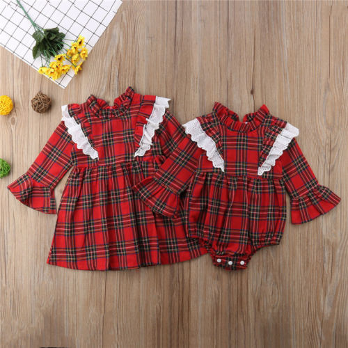 Canis Newborn Kids Baby Girls Red Plaid Clothes Lace Checks Bodysuit Jumpsuit 0-24M Mini Dress Long Sleeve Casual Clothes 1-6T цена