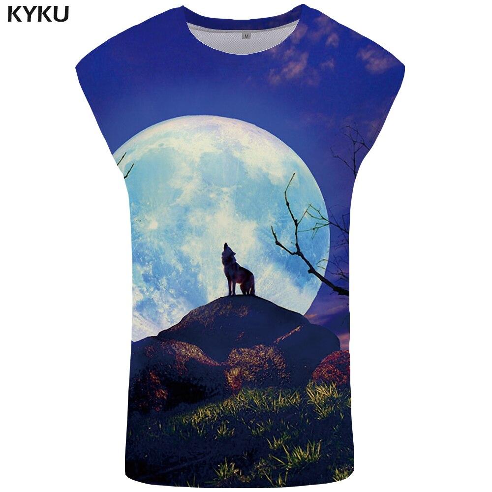 KYKU Wolf   Tank     Top   Men Moon Mens Bodybuilding Tree Stringer Sky Ftness Clothing Animal Undershirt Singlet Sleeveless Shirt   Tops