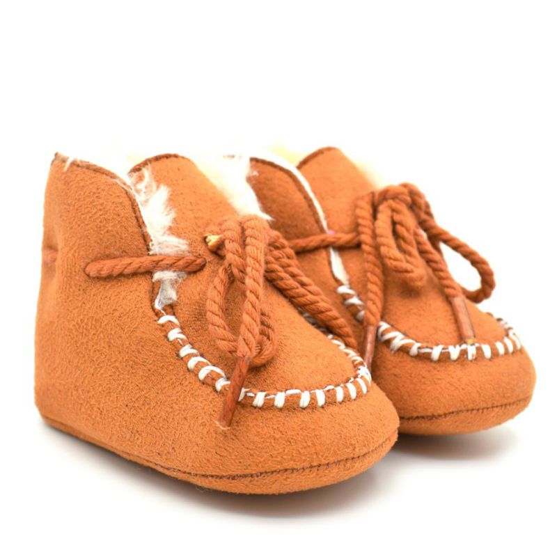 Winter Baby Girls Boys Shoes Boots Infants Warm Fur Wool Booties Sheepskin Genuine Leath ...