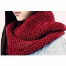 Новое поступление Мужская и Женская Хороший зима теплая Бесконечность 2 Круг Кабель Вязать Клобук шеи длинный шарф шаль