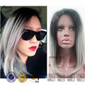 Fashion Dark Root Ombre Silver Gray Straight Sexy Wigs Medium Length Hairstyles Perruque Synthetic Hair Wig for Black Women