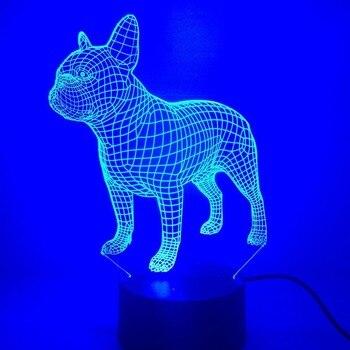 Lampe 3D Bouledogue français Lampe LED Coloré Chien Veilleuse Enfants