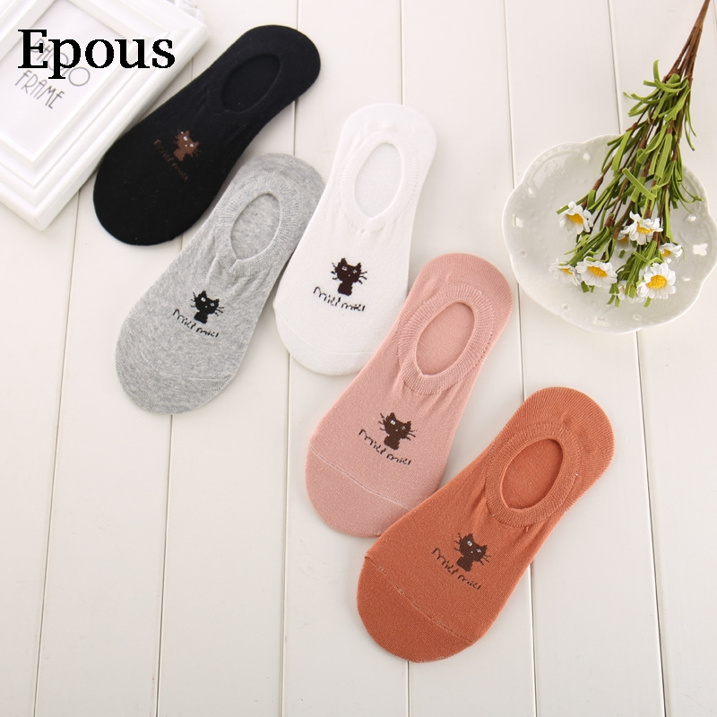 Epous Socks Women Cute Kawaii Streetwear Summer Spring Animal Print Sox Cartoon Cat Low Ankle Invisible Slippers Girl 2019