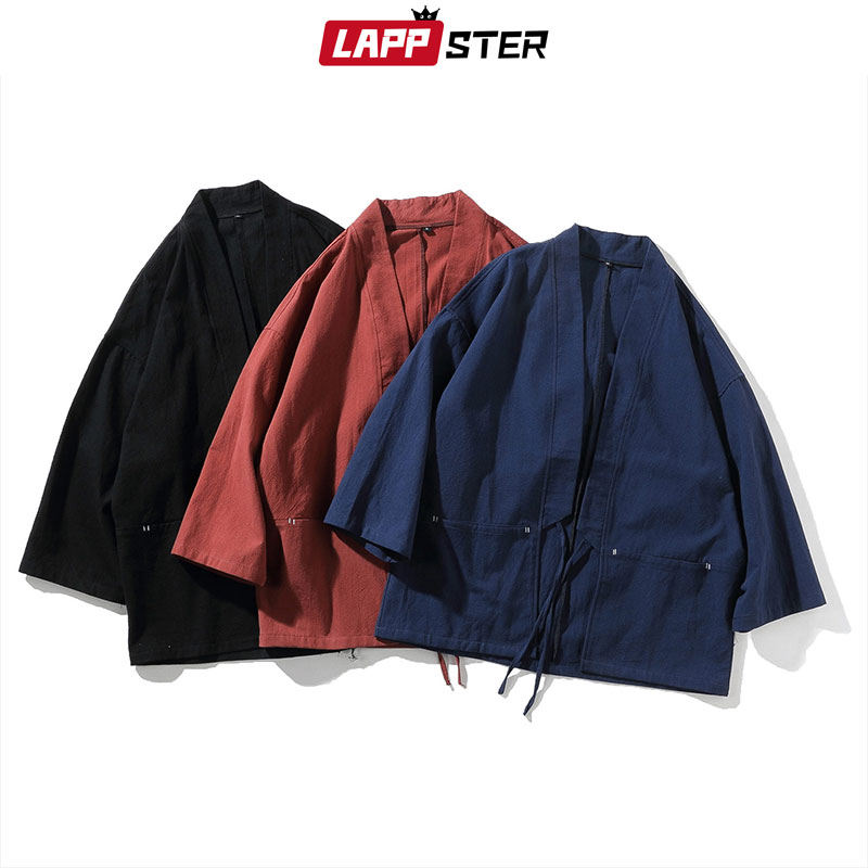 LAPPSTER Men Cotton Linen Harajuku Kimono 2020 Summer Mens Vintage Loose Shirts Male Summer Chinese Style Belt Kimono Cardigan