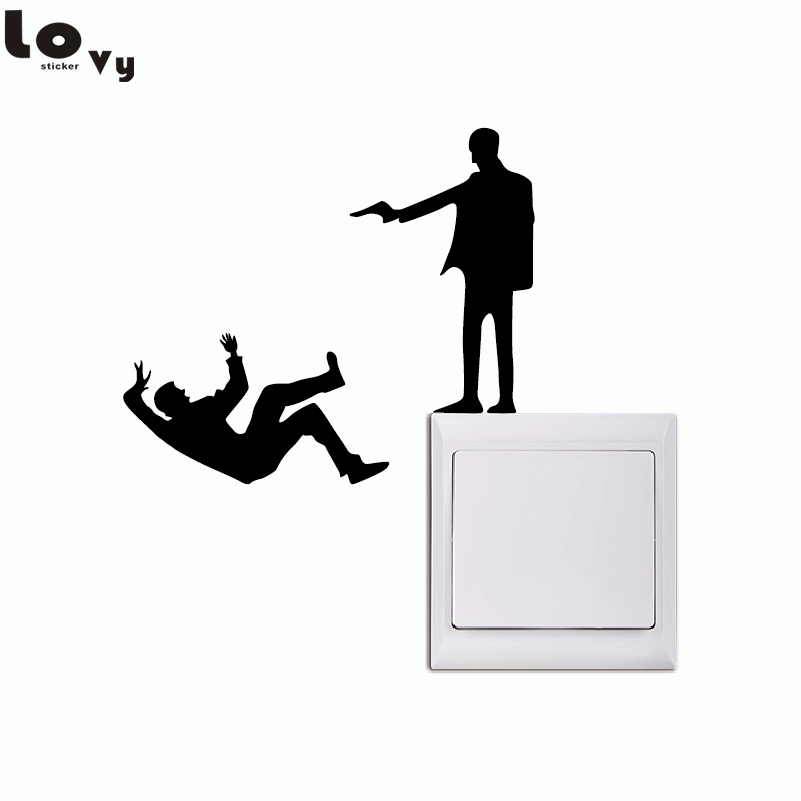 Funny Shooting Man Vinyl Light Switch Sticker Creative Silhouette Wall Stickers for Bedroom Living Room Home Decor