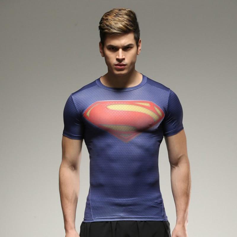 marvel batman Captain America t-shirt hot superman t shirt men joges 2019 Superhero tights quick-dry T-shirt Summer clothing 3
