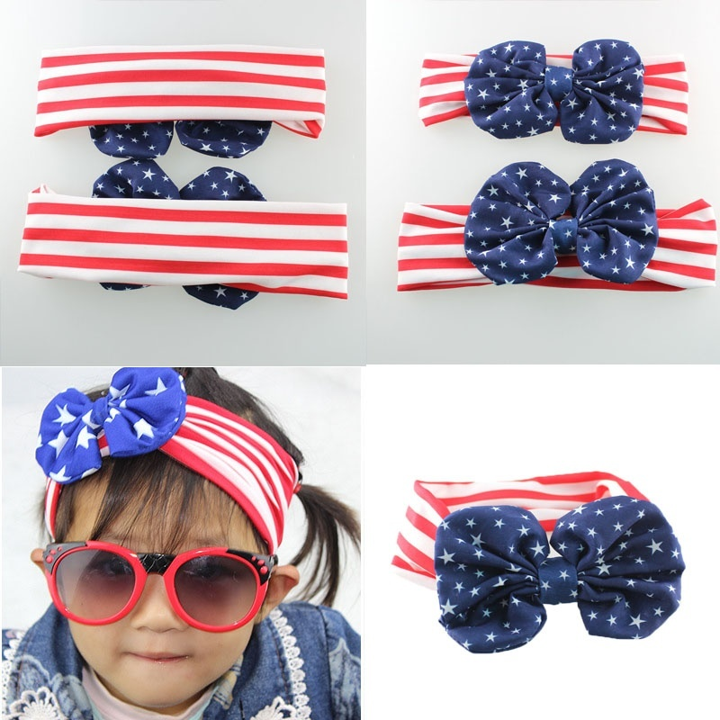 1 Set Heißer Mode 4th Von Juli Mama Und Mich American Flagge Stirnband Mädchen Turban Bowknot Kopf Wraps Headwear Mädchen Haarband