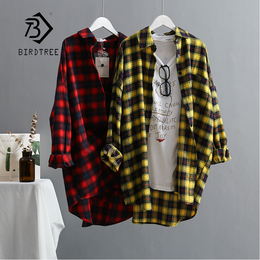 New Arrival Women Oversize Classic Yellow Plaid Long Blouse Batwing Sleeve Curved Hem Shirt Turn-Down Collar Casual Top T96704F