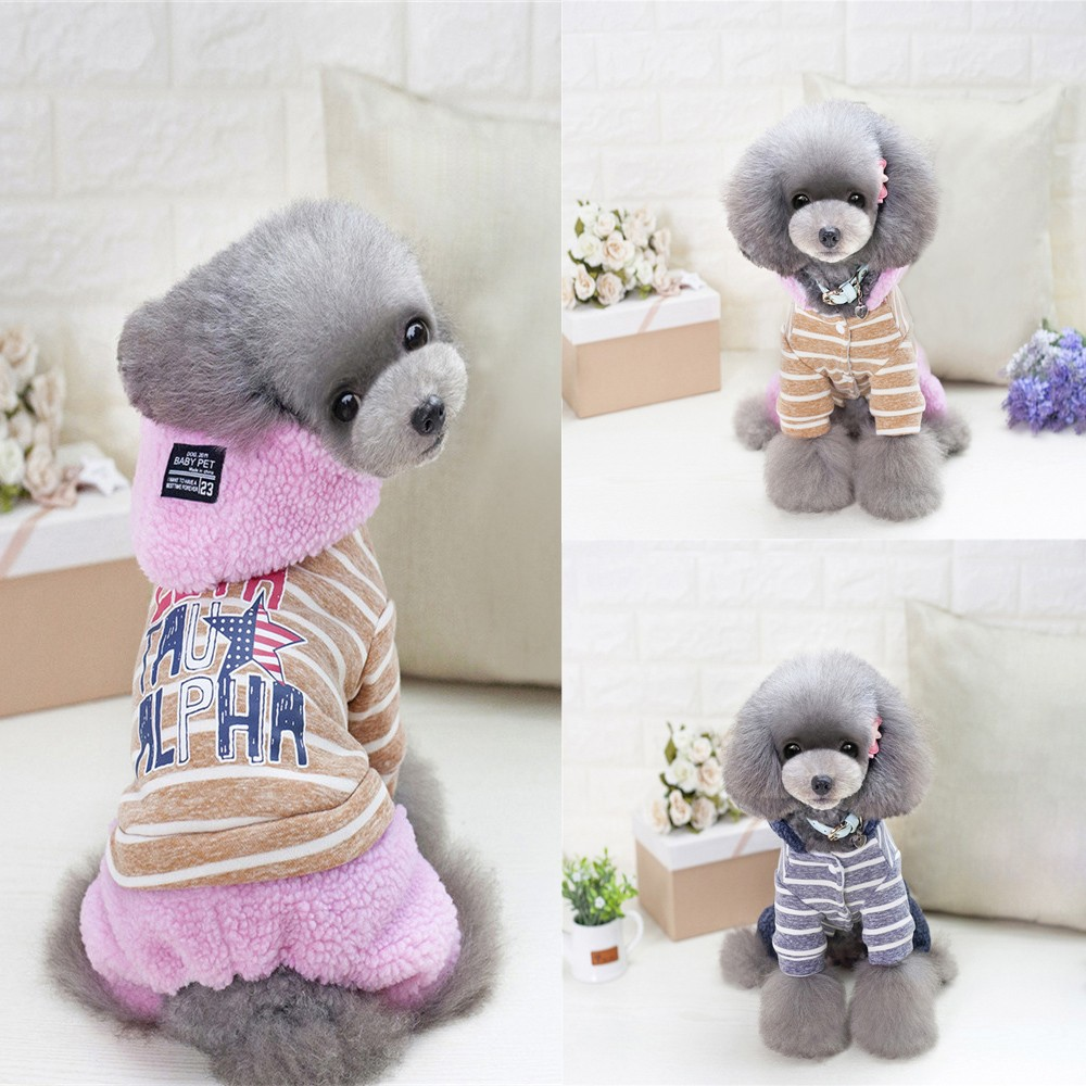 Small Dogs Costume Clothes Little Dogs Overalls Pet Dog Cat Warm With Thick Clothes Small Dotton Star Letter Printing Denim Wear