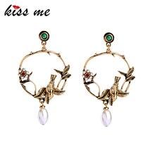KISS ME, золотые, цветные, птицы, цветы, большие серьги для женщин, дизайн, милые, модные ювелирные изделия, винтажные аксессуары