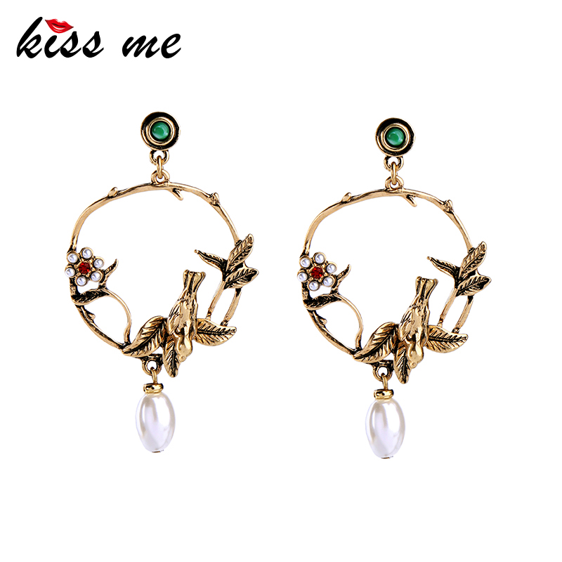 KISS ME Gold Color Birds Flowers Big Earrings