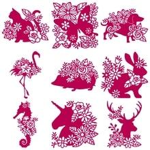 Цветочные животные Ежик лося металлические Вырубные штампы карты Альбом делая шаблон для скрапбукинга ремесленные трафареты новые штампы для