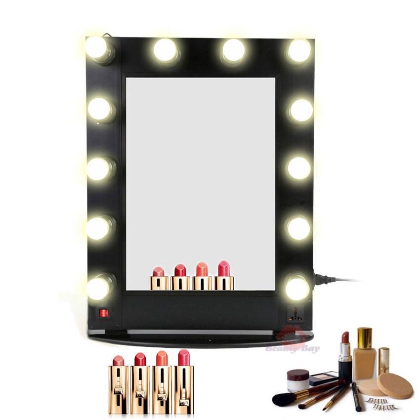 Free Shipping Hollywood Lighted Makeup Artist Salon Mirror Makeup Case Aluminum Cosmetic Wall Table Mirror on Wall Makeup Mirror With Lights