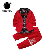 MezyTicky Childrens Casual Clothing Baby Kids Button Fashion Bow Clothes suits Boys jacket pant 2pcs/ sets coats pants costume