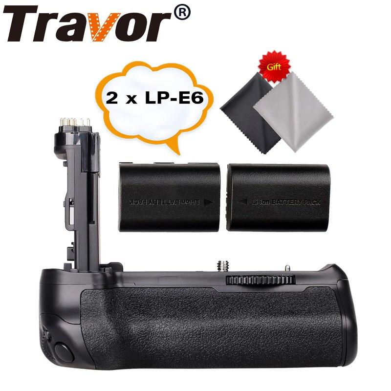 Travor Batterie Holder Grip pour Canon EOS 70D 80D Dslr comme BG-E14 + 2 pcs LP-E6 batterie + 2 pcs Microfibre Chiffon De Nettoyage