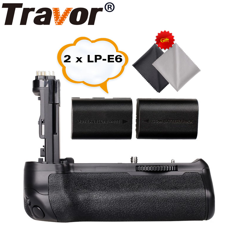 все цены на Travor Battery Grip Holder for Canon EOS 70D 80D DSLR Camera as BG-E14 +2pcs LP-E6 battery+2pcs Microfiber Cleaning Cloth онлайн