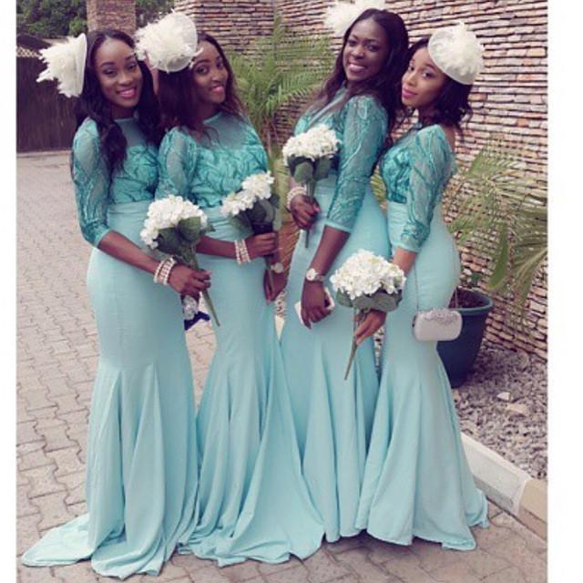 Sexy Turquoise Bridesmaid Dresses Mermaid 2016 Three Quarter Sleeve  Embroidery Scoop Pleated Bridesmaid Dress 28c6292ccc66