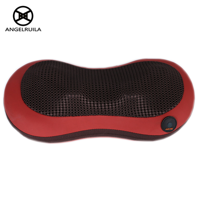 AngelRuila Home/Car Neck Massager Pillow Shoulder Waist Back Leg Body Massager  Electric Infrared Heating Shiatsu Device bolikim electric infrared heating kneading neck shoulder back body spa massage car pillow car chair shiatsu massager machine