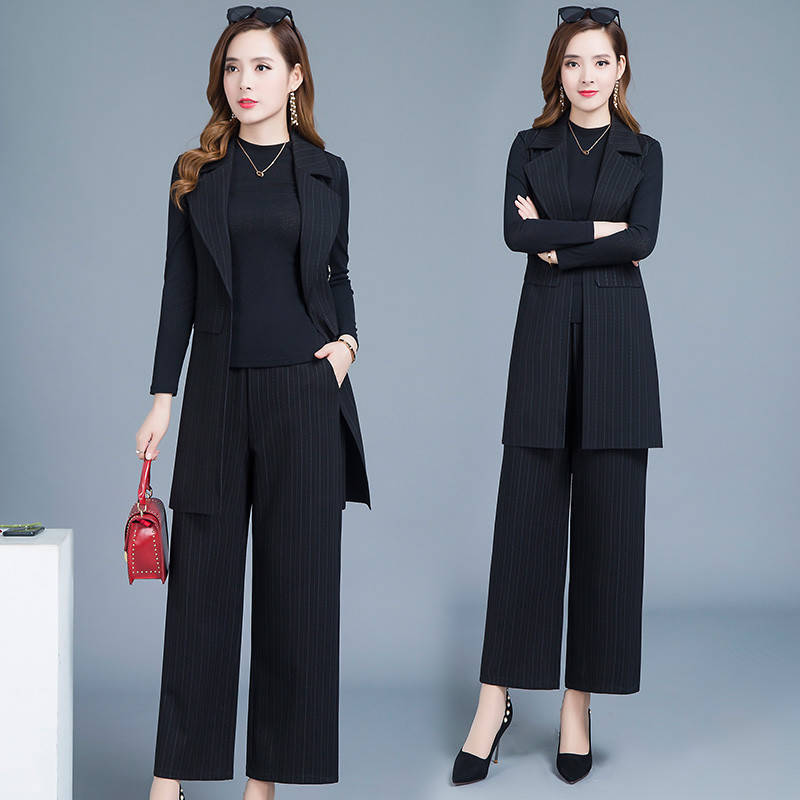 Work Pant Suits OL 3 Piece Sets Striped Blazer Sleeveless Jacket Elastic Waist Trousers Suit For