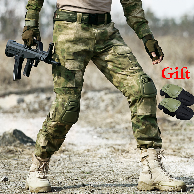 Hunting Pants Men Military Tactical Cargo Pants With Knee Pads Army Combat Pants Camouflage Outdoor Sports Hiking Training Pants