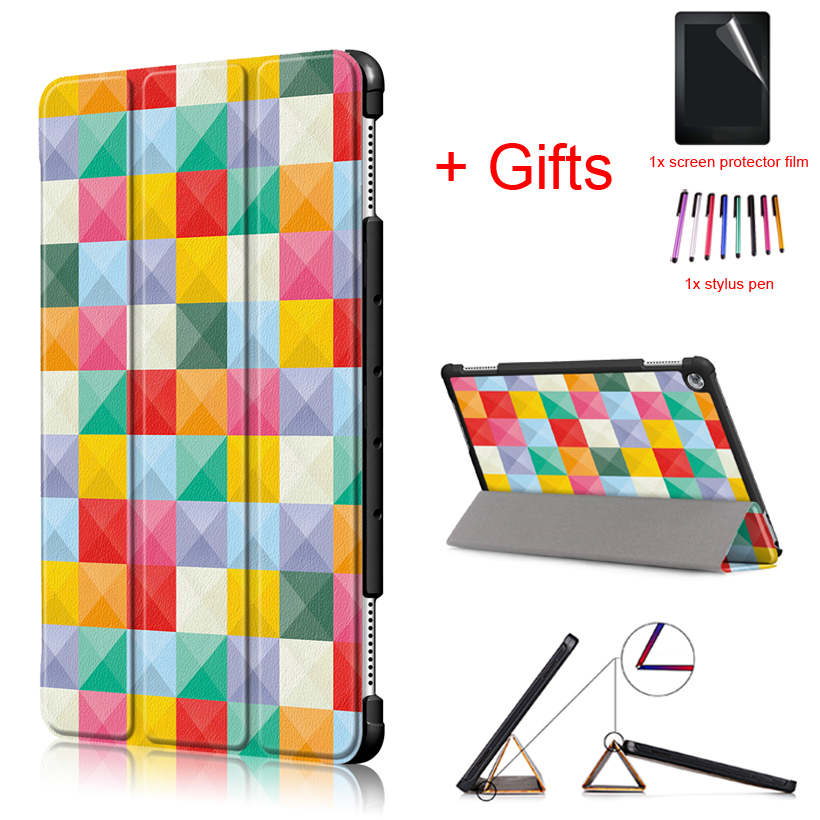New Tablet Case for Huawei MediaPad M5 lite 10 BAH2-W19/L09/W09 10.1 inch Tablet Smart Magnetic Stand Funda Cover +Film+Pen light weight painting case for huawei mediapad m5 lite10 case for huawei m5 lite 10 bah2 l09 w19 dl a tablet 10 1 cover
